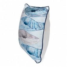 Наперник декор бежево-голубой Кашалоты  45*45 см
