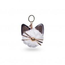 Брелок для ключей белый Cat мех 9 см