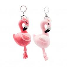 Брелок меховой Фламинго с камнями 2 цвета