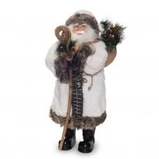 Дед Мороз в белой шубе с посохом 80см