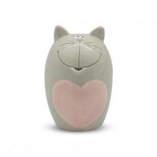 Кувшин серый Котик с сердцем 20см