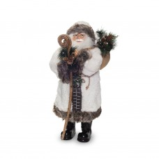 Дед Мороз в белой шубе с посохом 60см