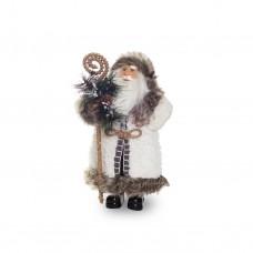 Дед Мороз в белой шубе с посохом 45см