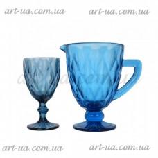 Набор графин и 6 бокалов Rhombus синий