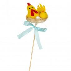 Декор на палочке 'Курочка с цыплёнком' , 6 см.
