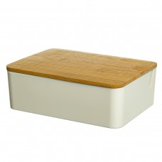 Шкатулка- зеркало с бамбуковой крышкой 15*11 см