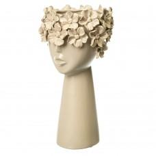 Керамическая ваза Девушка в цветах бежевая, 30 см