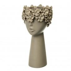 Керамическая ваза Девушка в цветах серая, 30 см